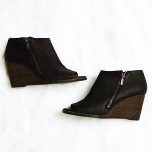 Lucky Brand Jaspah Wedge Peep Toe Booties